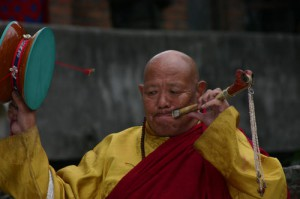RInpoche playing the kangling and drum during Chod Cham